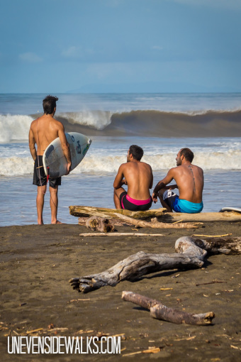 Surfers Sizing up Waves