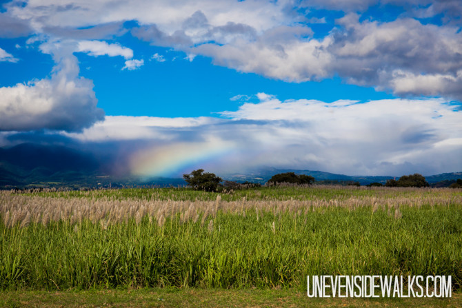 Clouds Blanketing the Hills with a Bright Rainbow