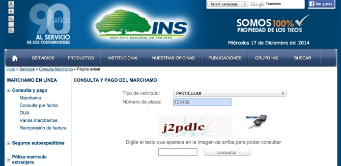 Main INS Costa Rican website to check your marchamo fee dues