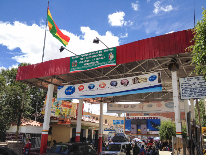 Bolivia Border Crossing at La Quiaca, Villazon, on our way to the ATM