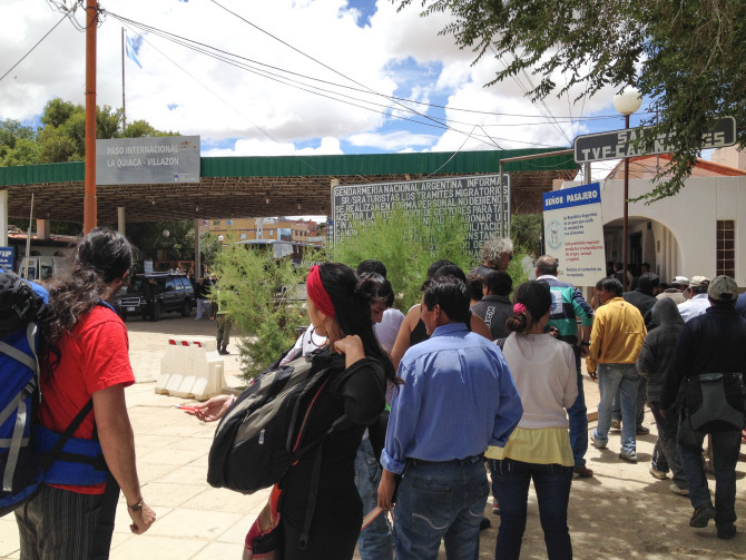 People waiting in the line to cross from Argentina to Bolivia