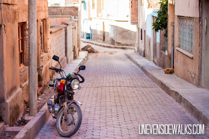 Motorcycle on Cobblestone road in Tupiza, Bolivia