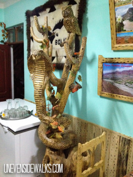 Snake statue in a pizza restaurant in tupiza, bolivia
