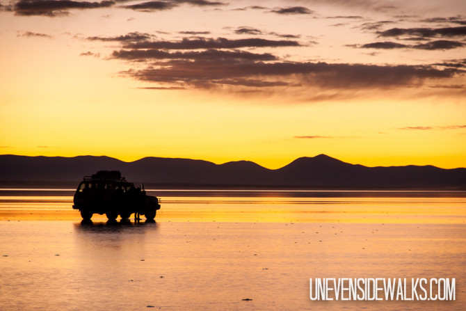 Land Cruiser on the Uyuni Salt Flats at Sunrise