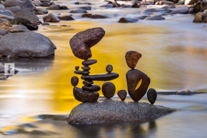 Rock Balancing Art in River