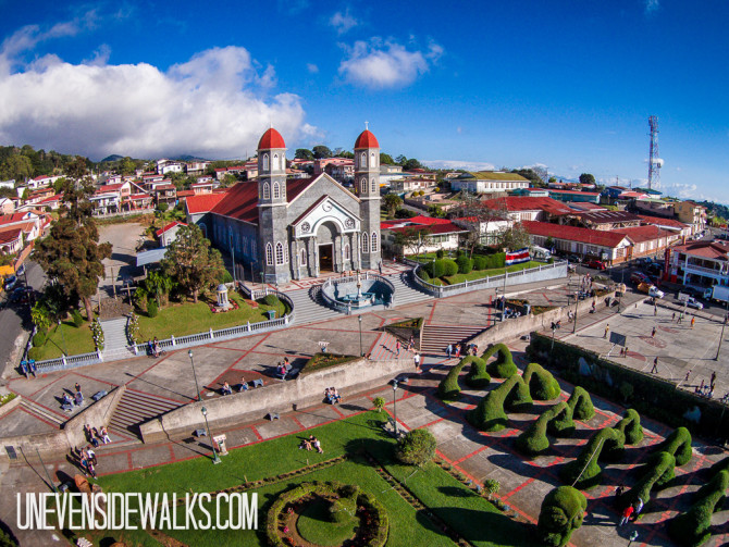 Aerial Photo of Zarcero Church in Costa Rica with a Quadcopter Drone