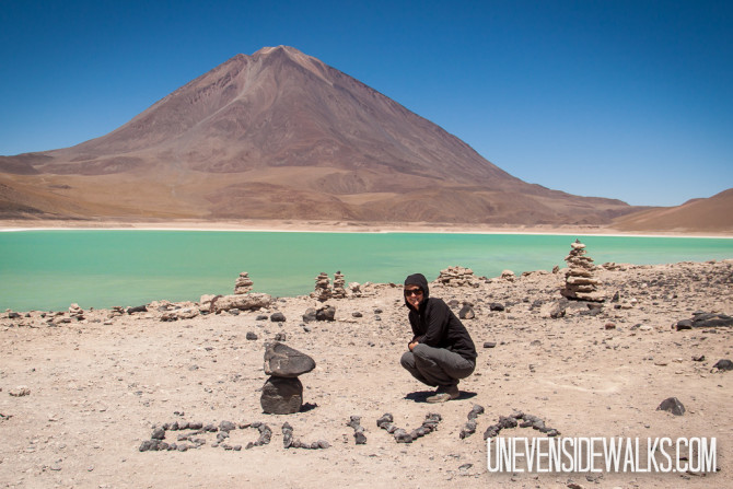 Alyssa Spelling out Bolivia with Rocks by Laguna Verde