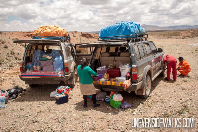 Eating lunch from the back of the land cruiser