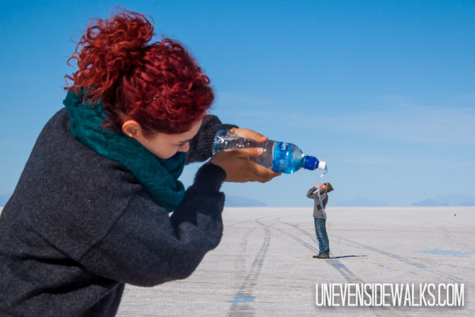 Salt Flat Funny Picture Illusion, Landon Drinking Water from a Bottle