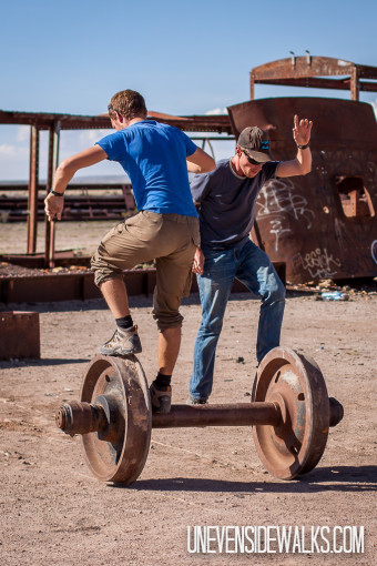 Trying to Balance on an old Train Axle