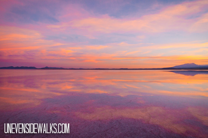 Uyuni Salt Flats and the Beautiful Colorful Sky at Sunrise