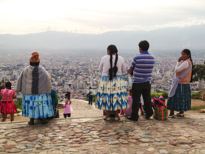 Indigenous Bolivians on the Hill in Cochabamba