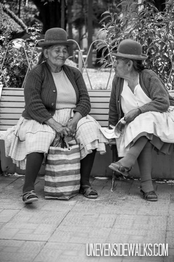 Ladies Chatting on Park Bench
