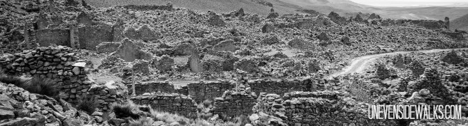 Black and White Photos of Ancient Stone Wall with Building Ruins