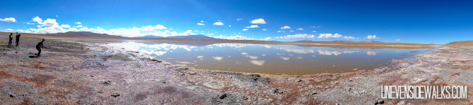 Panorama on Uyuni Salt Flat tour with Beautiful Blue Sky