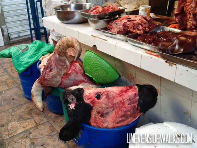 Cow head in the intense meat market
