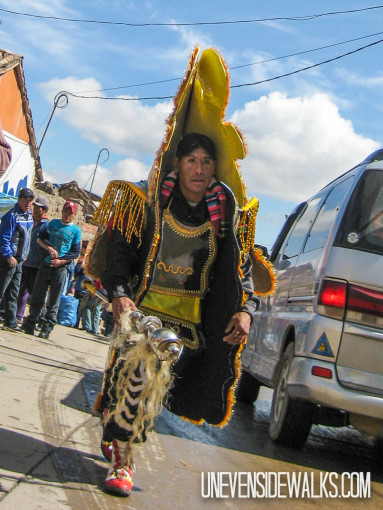 Guy wearing costume for the carnival in Potosi