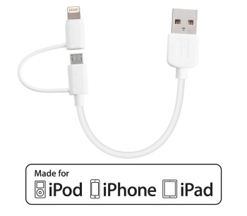 Apple Lightning and Micro USB 2-in-1 Short Charging Cable