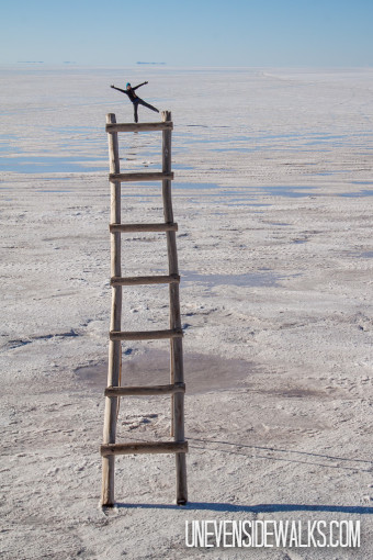 Funny Salt Flat Picture Balancing on top of a Ladder