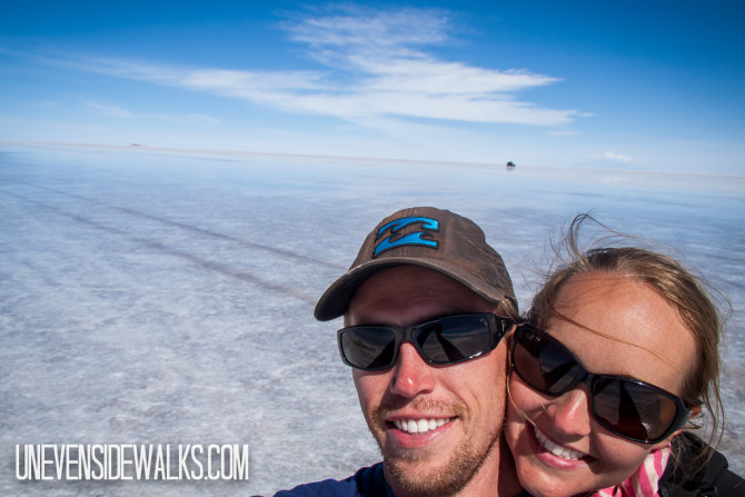 Landon and Alyssa on the Neverending Uyuni Salt Flats