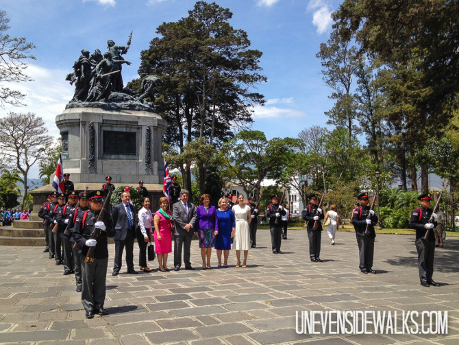 The Ambassador of England in front of the National Monument in Costa Rica