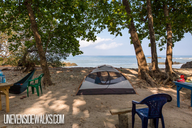 Camping on the Osa Peninsula Beach in Costa Rica with the Ocean in the Background
