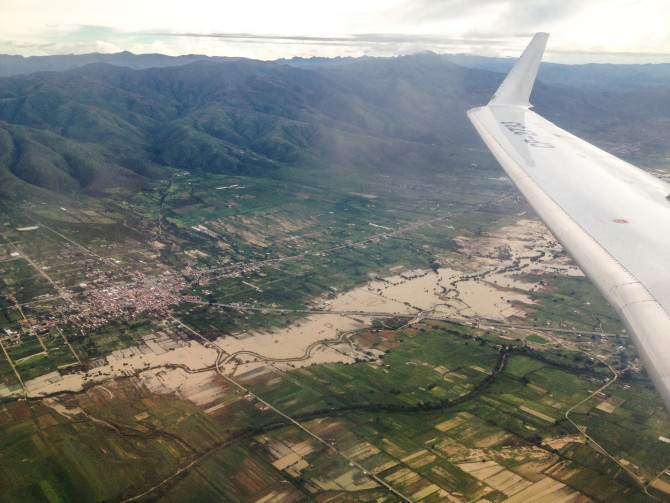 Flooded Towns and Roads from the Airplane over Bolivia