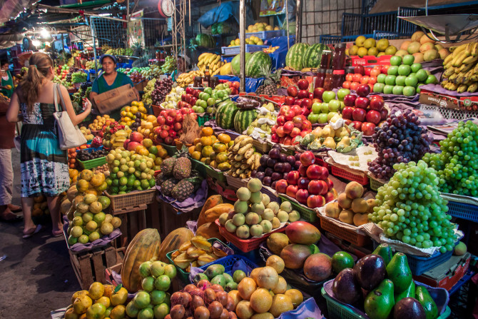Fresh Fruit Markets with Fruit Piled up