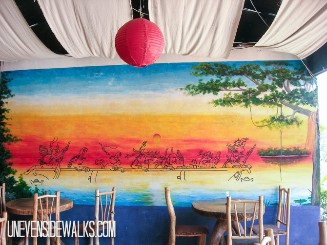 Colorful Wall Mural Painting at a Restaurant