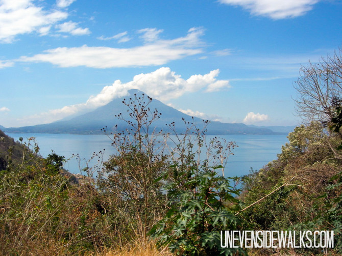 Lake Atitlan with a Volcano in the Background