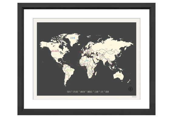 Vintage world map giveaway uneven sidewalks travel blog map in frame gumiabroncs Images