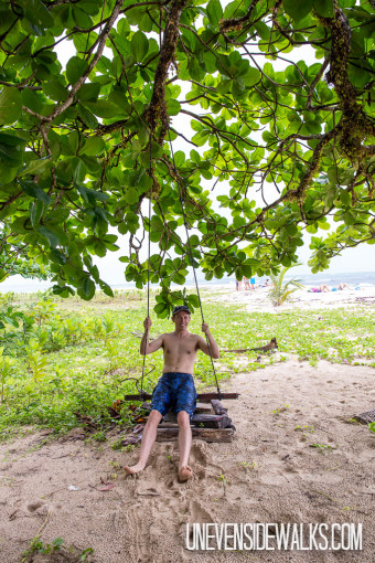 Landon riding a Tree Swing on the Beach