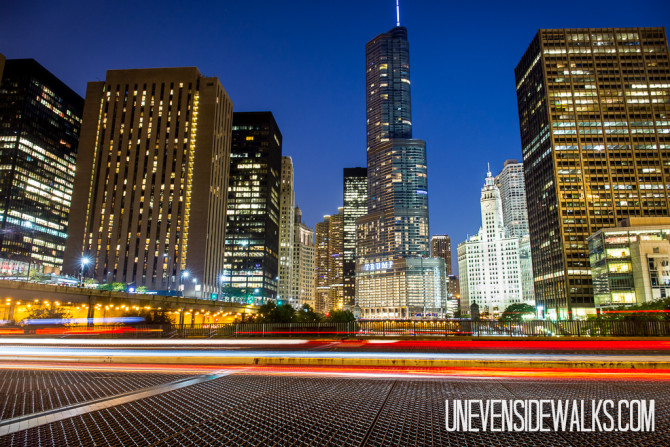 Skyscrapers of Chicago City Lights at Night