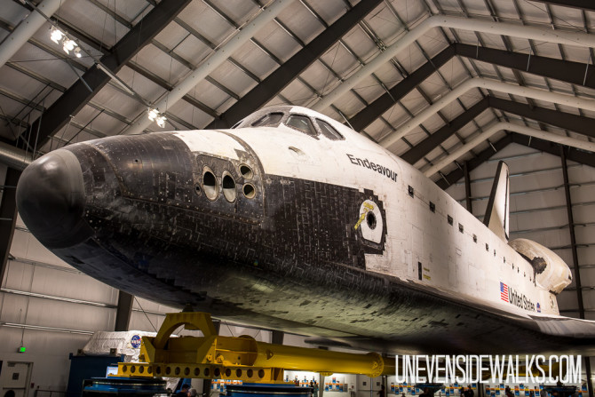 Front Side of Endeavour on Display in Los Angeles