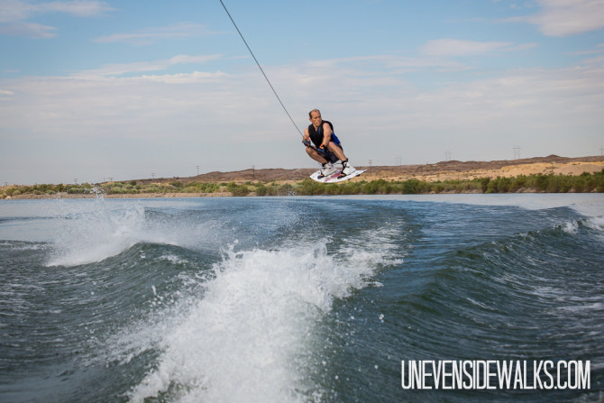 Jumping the Wake on a Wakeboard in the Air