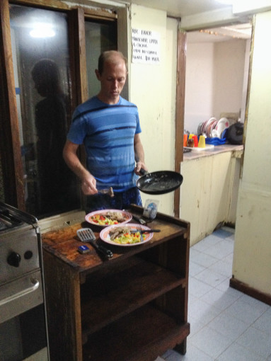 Landon Cooking an Easy Dinner in a Hostel in Panama