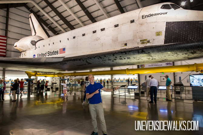 Landon and the Endeavour Space Shuttle on display