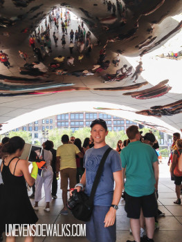 Landon Standing Under the Bean in Chicago