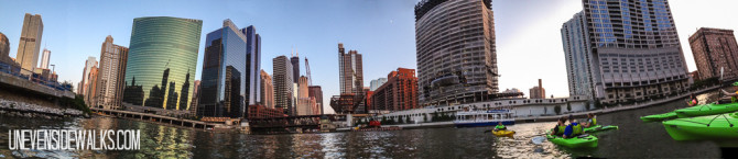 Panorama of Kayaking on the Chicago River