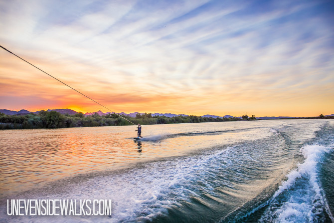 Riding a Wakeboard in the Sunset