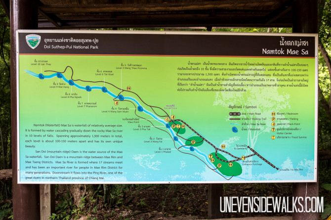 Mae Sa Waterfall Map of the National Park