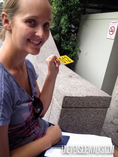 Alyssa Waiting in Line for Visa Renewal