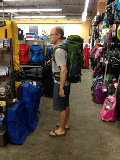 Backpacks Trying On