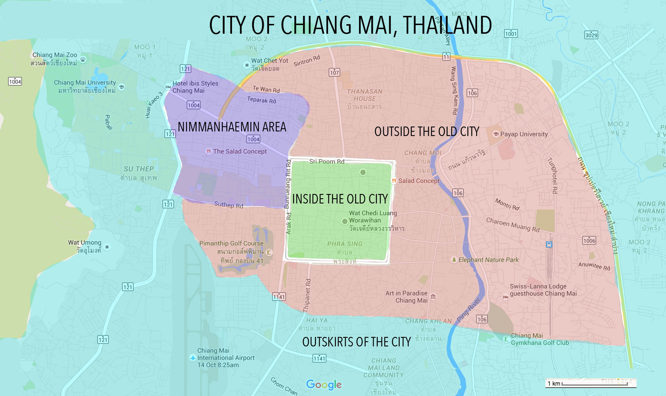 Chiang Mai apartment zone map