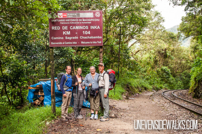 HIking Start Point at Inca Trail in Machu Picchu with Backpacks