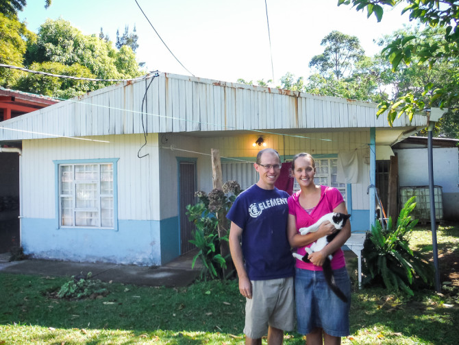 Travelers in Front of House in Costa Rica Living Abroad