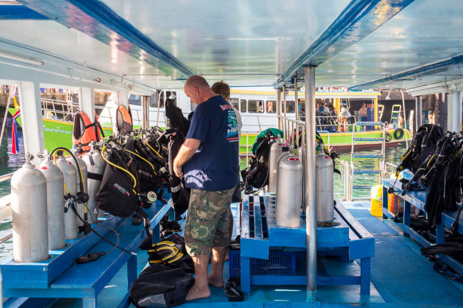 Getting Diving gear ready on boat
