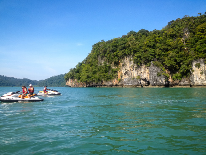 Jet Skis with Cliffs on Island Jet Ski Tour in Langkawi