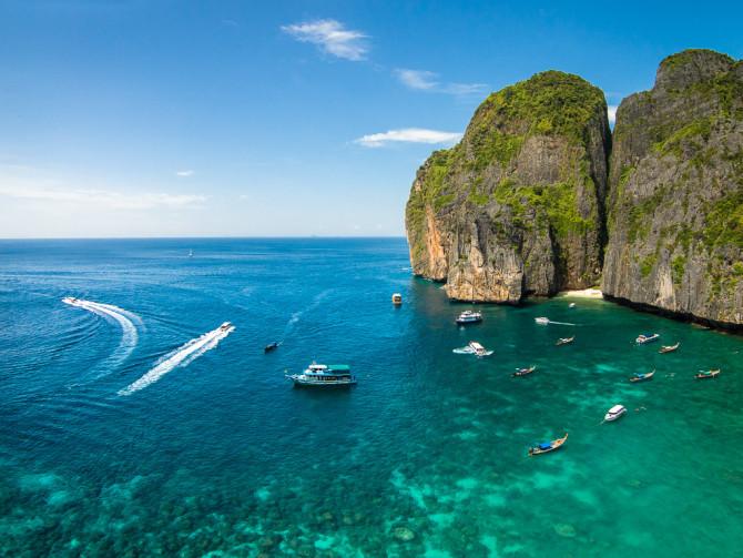 Maya Bay Aerial with Boats