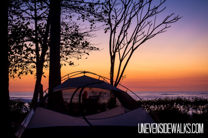 Camping in Costa Rica at Sunset on the Nicoya Peninsula
